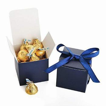 AWELL Navy Blue Gift Candy Box Bulk 2x2x2 inches with Blue