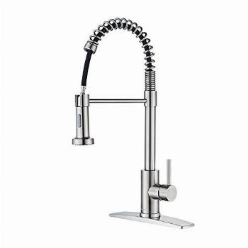 FORIOUS Kitchen Faucet with Pull Down Sprayer, Commercial