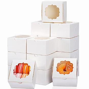 TOMNK 100pcs 4 inch White Bakery Boxes Cookie Boxes Kraft